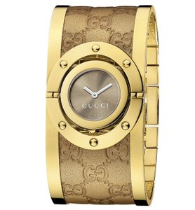 Gucci Twirl Brown Dial Gold-tone Steel with Leather Bracelet Ladies Watch
