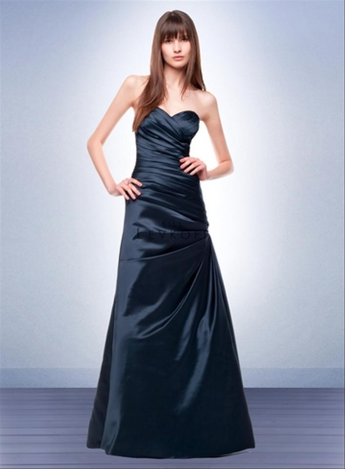 e6ce4dec35f Bill Levkoff Navy Satin Style 124 Formal Bridesmaid Mob Dress Size 4 (S) ...