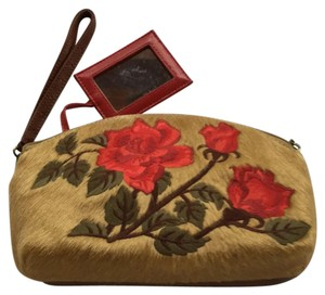 Isabella Fiore Tan, brown, and red Clutch