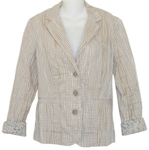 CAbi Cotton Gingham Beige Blazer