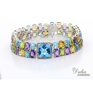 Multi Colored Semi Precious Stone and Total 36.51 Cts Set In 18k W Bracelet
