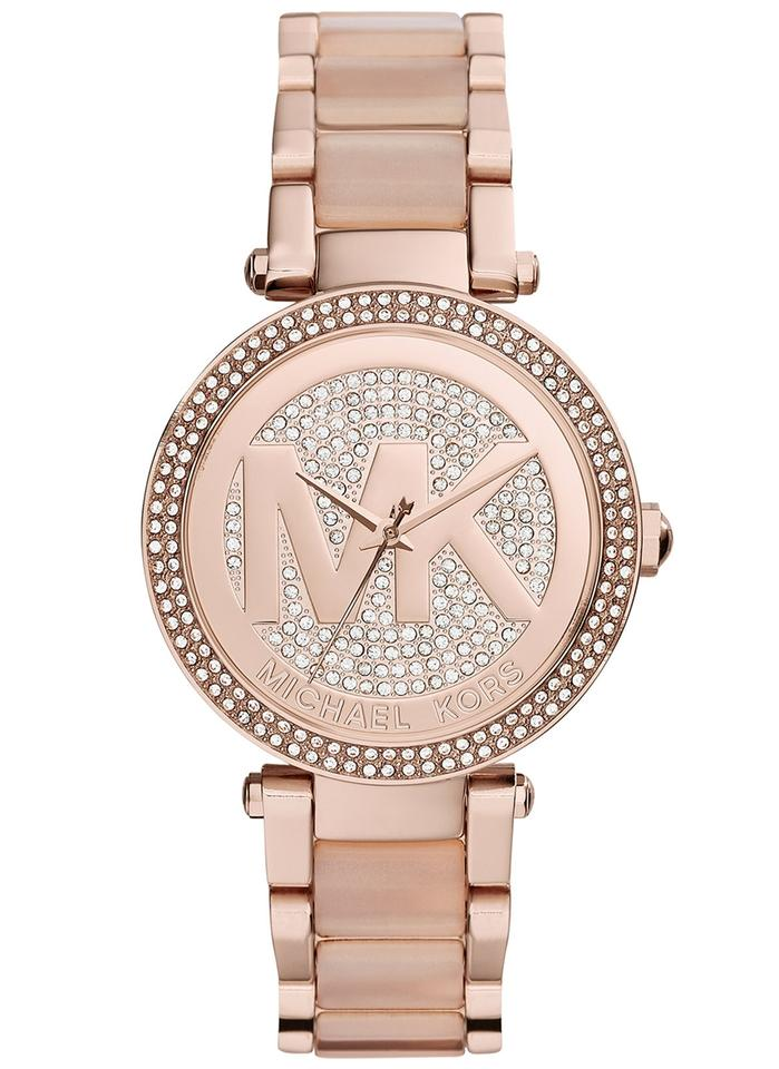 5364d0ed91a Michael Kors Parker Crystal Pave Logo Dial Rose Gold-tone Ladies Watch -  Tradesy