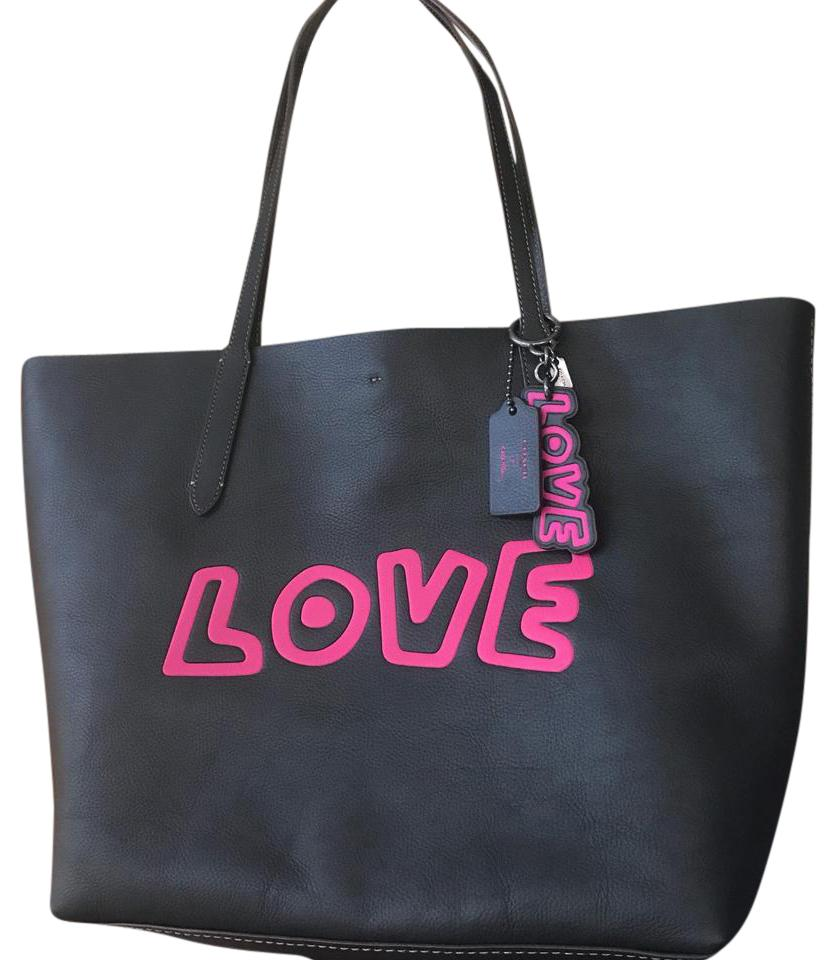 c23325c6ba6a Coach Keith Haring Love Tote   Keychain Black Leather Shoulder Bag ...