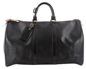 Louis Vuitton Leather Keepall 45 Black Travel Bag