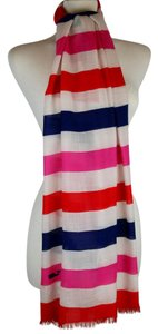 Vineyard Vines VINEYARD VINES WOOL & SILK STRIPED SCARF HOT PINK WHITE RED BLUE, 86""