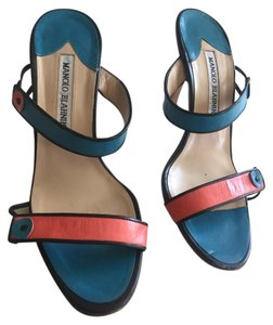 Manolo Blahnik Blue and Coral Sandals