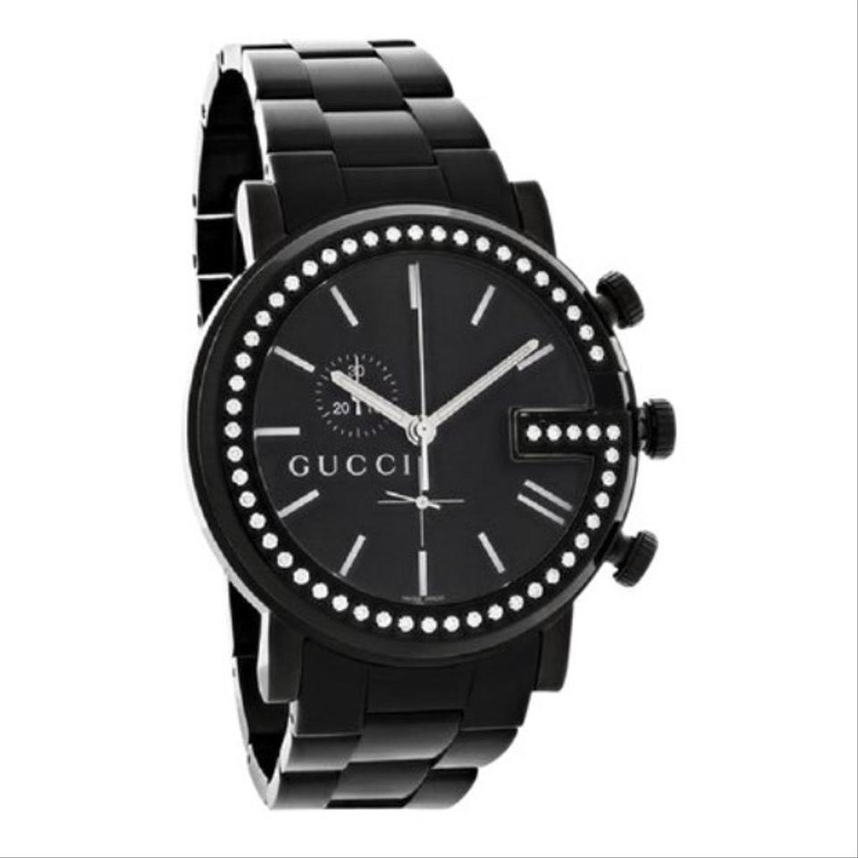 c7a1439acd6 Gucci Black Men 101-g Case Swiss Quartz Diamond Watch - Tradesy