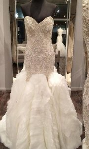 Allure Bridals Silver/Ivory Beaded and Organza Couture C346 Formal Wedding Dress Size 14 (L)