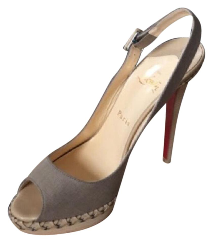 Christian Louboutin Beige/Tan/Taupe Sling Indiana Sling Beige/Tan/Taupe 140 Platforms 574365