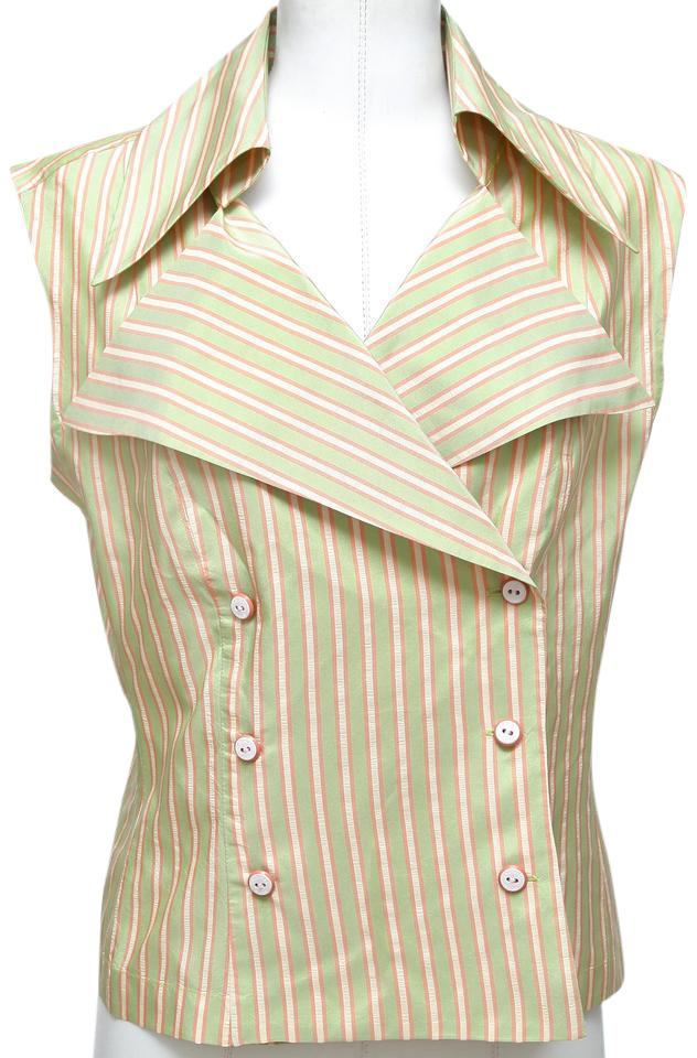 94d24052e6b83 Chanel Orange Cream Green Shirt Sleeveless Striped Silk Double Breasted 44  Blouse