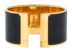 6a26046d35e Herms 18K yellow gold-plated Hermes extra wide Clic Clac H bracelet GM