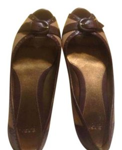 Circa Joan & David Dark brown leather with natural linen Flats