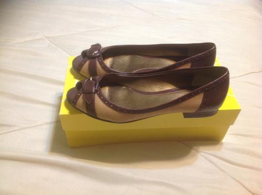 Circa Joan & David Dark brown leather with natural linen Flats Image 1