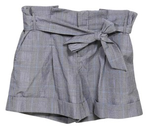 Anthropologie High-waisted Tie Party Casual Structured Dress Shorts Gray, Blue, White