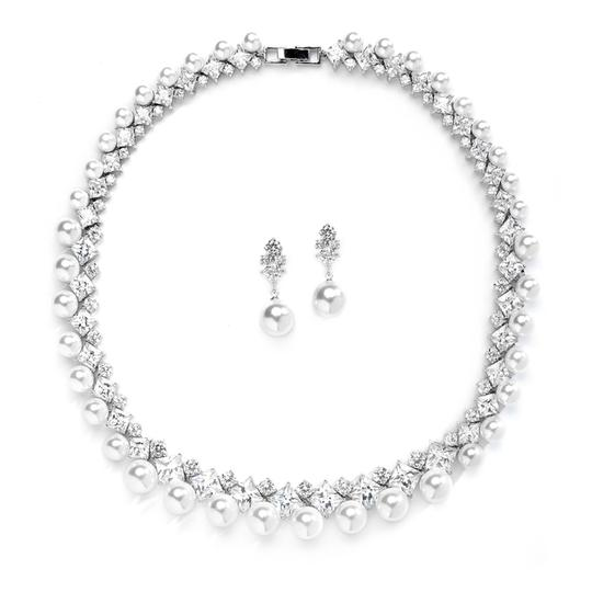 Silver/Rhodium Luxurious Aaa Crystals Pearls Couture Set Jewelry Sets