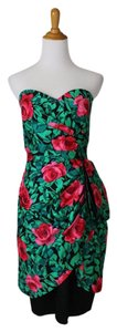 A.J. Bari Neiman Marcus Vintage Strapless Rose Print Dynasty Dress