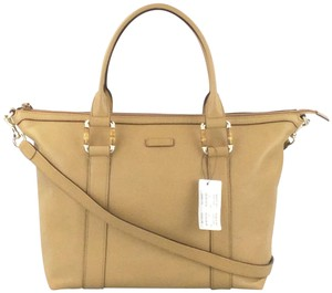 Gucci 339548 Leather Bamboo Tote in Tan