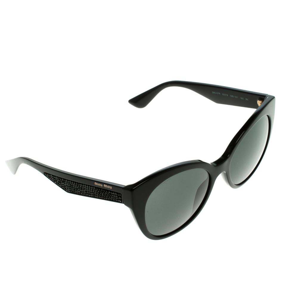 ff5831797a8a Miu Miu NEW Miu Miu (SMU 07R) Stardust Collection Cat Eye Black Sunglasses  Image. 12345678
