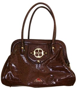 Joy & IMAN Croc Print Reptile Print Global Chic Satchel in Brown