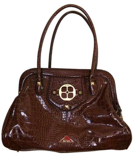 Item - Embossed Brown Faux Croc Satchel