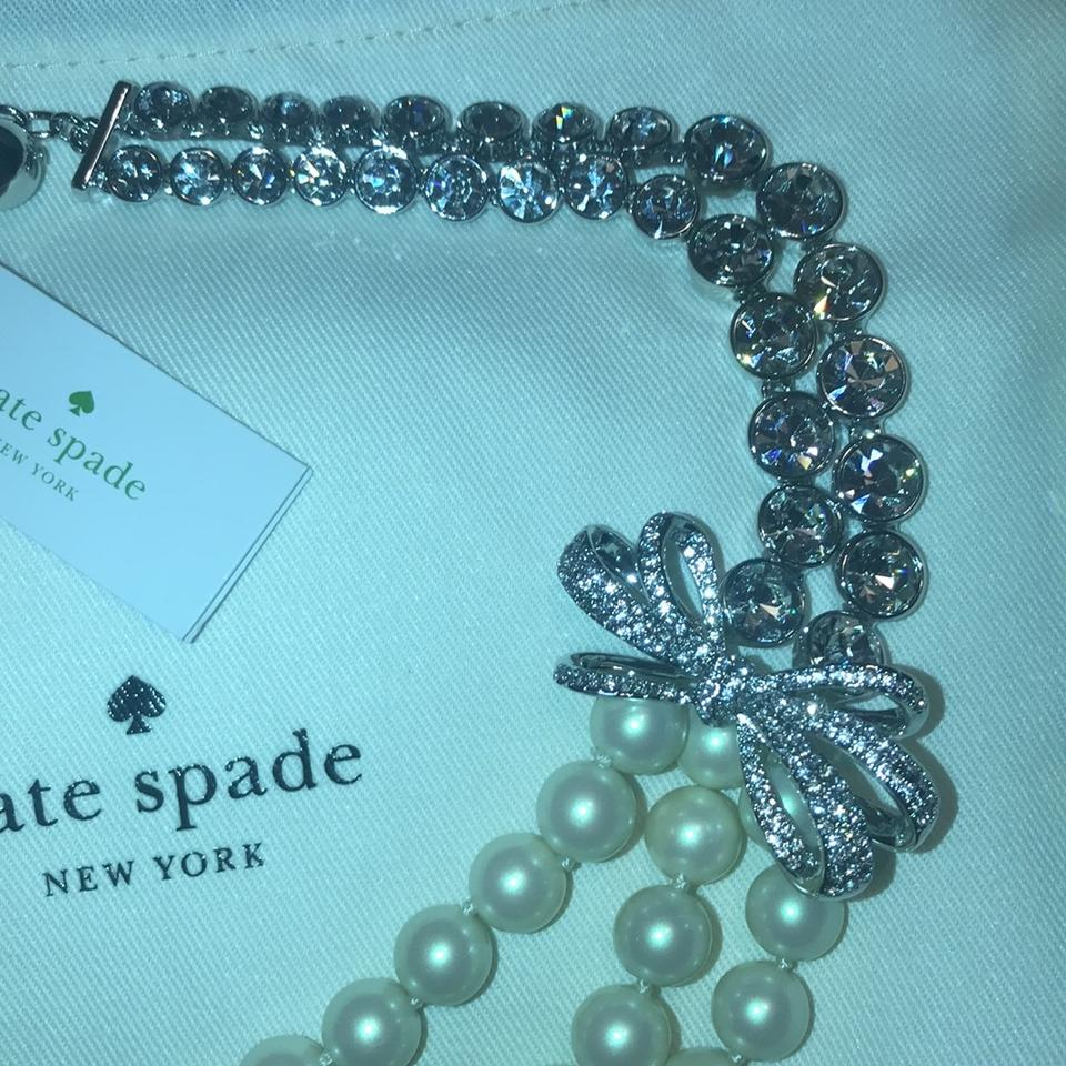 Kate Spade Pearl Bow Necklace: Kate Spade Pearly Glow Pearl Crystal Bow Necklace