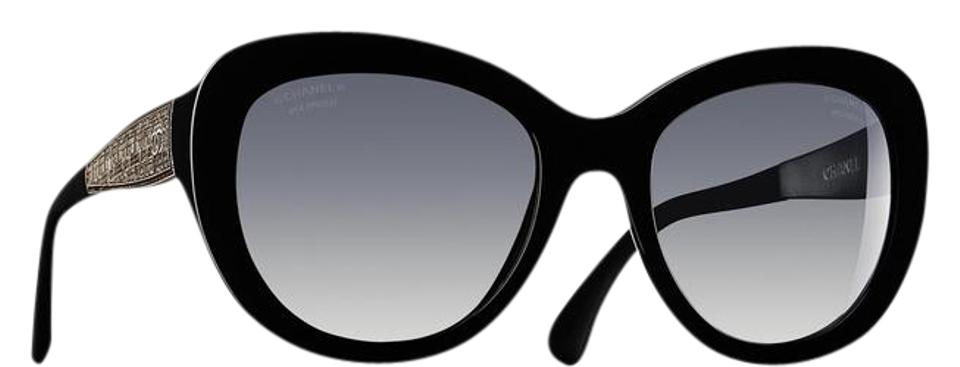 0a4f83d029092 Chanel Black Silver 5346 Cc Butterfly Signature Oversized Classic Cateye  Tweed Polarized Sunglasses