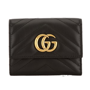 Gucci Gucci Black Matelasse Leather GG Marmont Wallet New with Tags