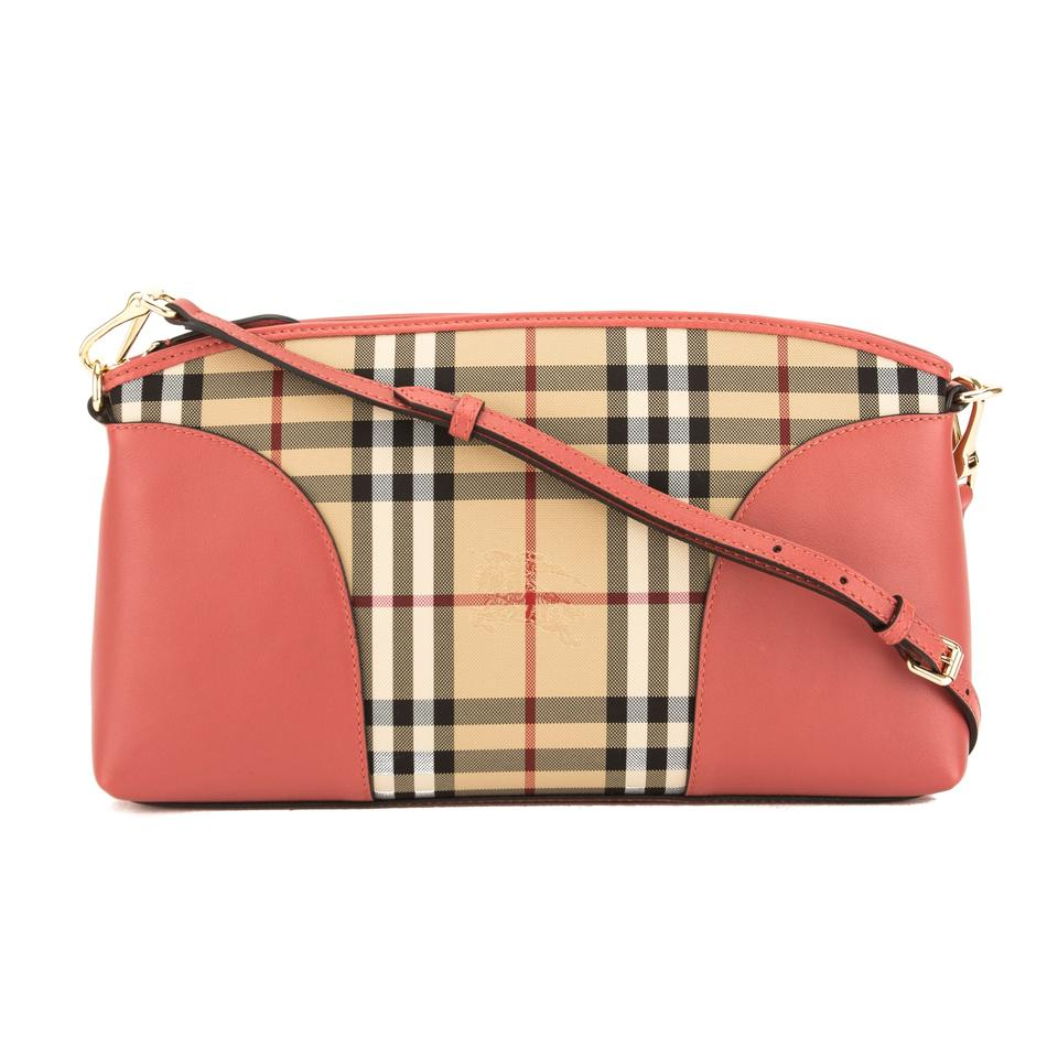 Burberry Leather and Horseferry Check Chichester Pink Canvas Cross ... c413e001411cf