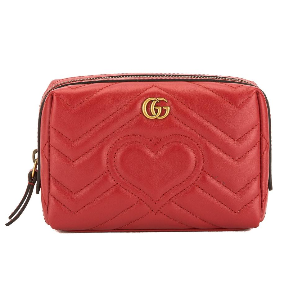 126f8c7c23ff Gucci Gucci Hibiscus Red Matelasse Leather GG Marmont Cosmetic Case New  with Image 0 ...