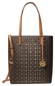 Michael Kors Saffiano Leather Satchel Haryley Tote in Brown