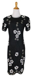 Papell Boutique Sequin Embellished Beaded Flowers Vintage Dress