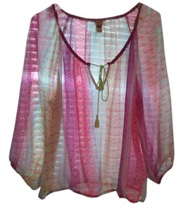 Arizona Jean Company Top multicolored....pinks ,purples and green sheer
