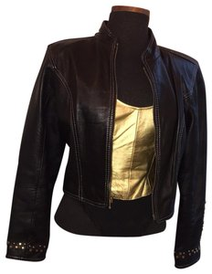 Tannery West black & gold Leather Jacket