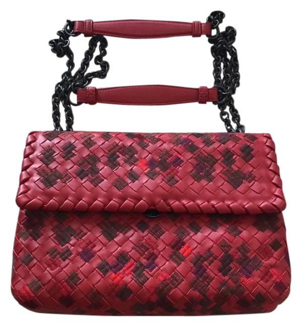 Item - New Small China Red Multi Purple Brown Black Leather Shoulder Bag
