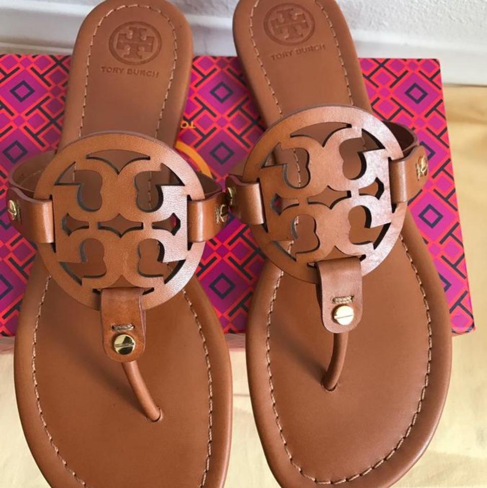 315127a44 Tory Burch Brown Miller Vintage Vachetta Vegan Leather Sandals Size ...