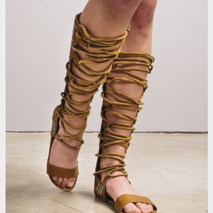 Free People Leather Gladiator Lace Up Embroidered Tan Sandals