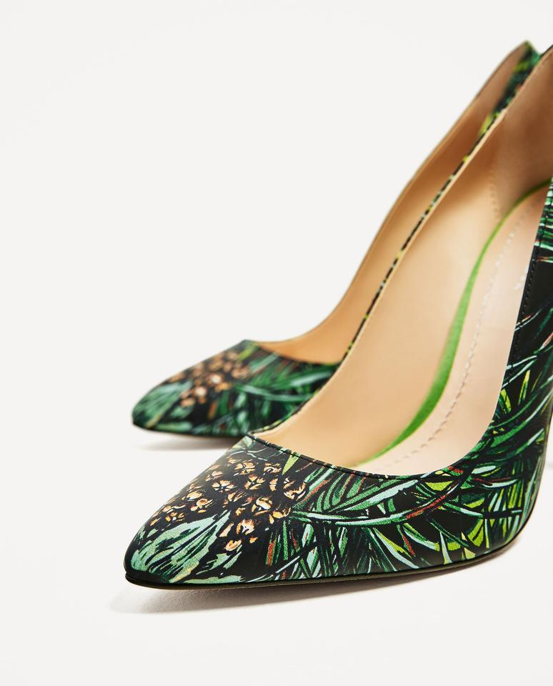 Zara Leather High Heel Shoes With Tropical Print