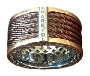 Charriol Rose/white gold cable ring