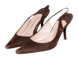 Chanel Slingback Brown Pumps