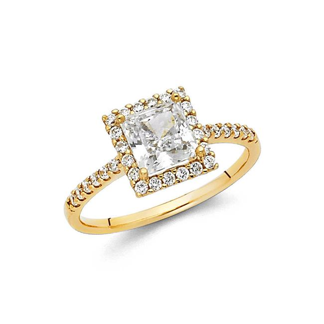 Item - Yellow Gold 14k Solid 1.75 Ct Princess Cut Halo Engagement Ring