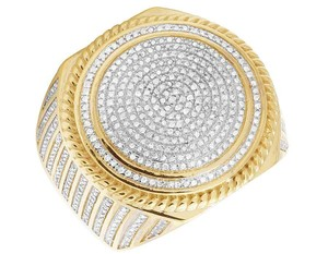 Jewelry Unlimited Men's 10K Yellow Gold Diamond Iced Round Pinky Ring 1.2 Ct 23MM