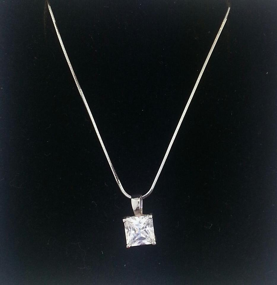t rg princess necklace solitaire ct cut tw and diamond pendant w off k