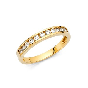Yellow Gold 14k Solid Round Ring Sizes 5 6 7 8 9 Women's Wedding Band