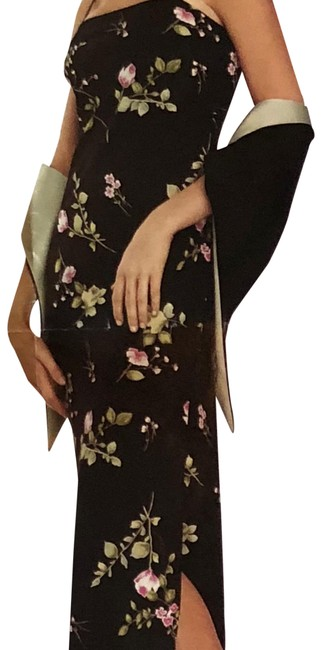 Item - Black Sage Green Pink Gown with Reversible Shawl Long Formal Dress Size 6 (S)
