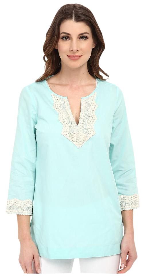 Nydj Seafoam Green Fit Solution Embellished Tunic Women Small Blouse