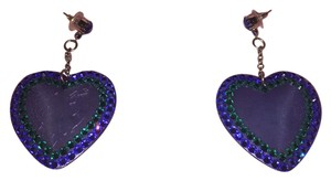 Tarina Tarantino Barbie Blue Crystal Lucite Heart Dangle Earrings