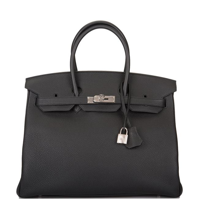 Item - Birkin 35cm Palladium Hardware Black Leather Satchel