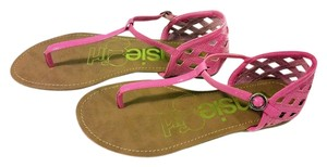 Kensie Girl Samaya Hot T-strap Patent 8 Size 8 Women Pink Sandals