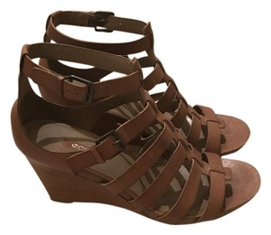 Ecco Adjustable Comfortable Leather Wedge Light Brown Sandals