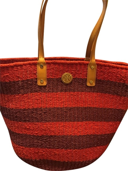 Item - Red and Purple Stripe with Tan Leather Handle Burlap Beach Bag